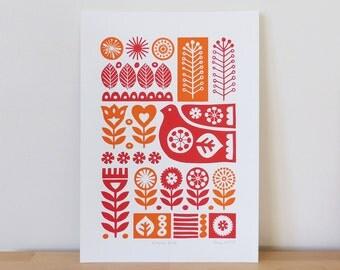Scandinavian Bird Flower Screen Print Scandi Orange Red Retro A3 Wall Art
