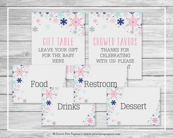 Winter Baby Shower Table Signs - Printable Baby Shower Table Signs - Baby It's Cold Out Baby Shower - Baby Shower Signs - EDITABLE - SP141