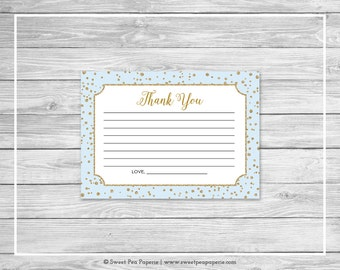 Blue and Gold Baby Shower Thank You Cards - Printable Baby Shower Thank You Cards - Blue and Gold Baby Shower - Thank You Cards - SP146