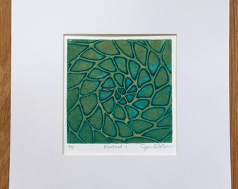 Nautical I, abstract, two-color etched linocut fine art print