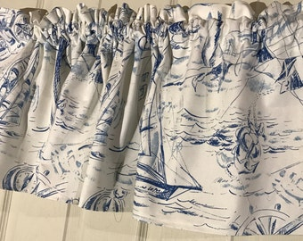 white and blue anchor sailboat nautical curtain valance