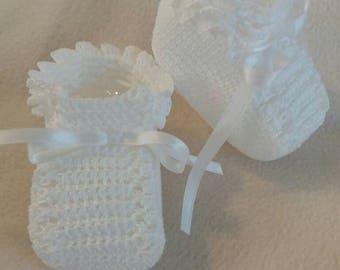 White Handmade Baby Crochet  Booties Crochettique Shop