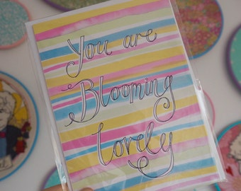 Blooming Lovely Birthday Greeting Card - Watercolour Pastel Stripes with Hand Lettering
