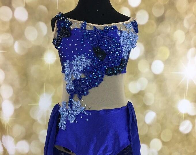 Lyrical dance costume, royal blue appliqued dance costume, blue dance costume, competition dance costume