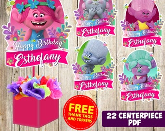 22 Trolls centerpieces, Trolls printable centerpieces, Trolls party supplies, Trolls birthday, Favors, decorations