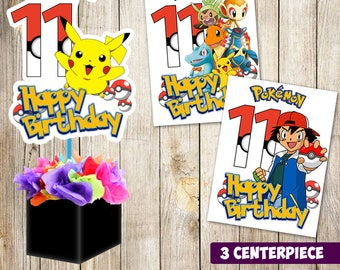 3 Pokemon centerpieces, Pokemon  printable centerpieces,Pokemon  party supplies,Pokemon  birthday, Favors, decorations, instant download
