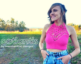 Crochet crop top halter pattern -Catlantis