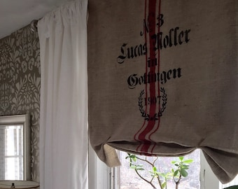 Burlap Panel Curtain with Blackout Liner
