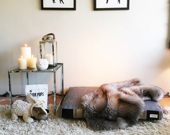 Silver and Velvet Dog Bed - LARGE
