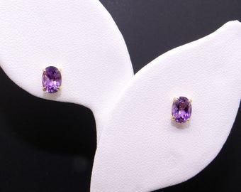 Adorable 14k Yellow Gold 1ct Oval Cut Purple Amethyst Button Stud Earrings