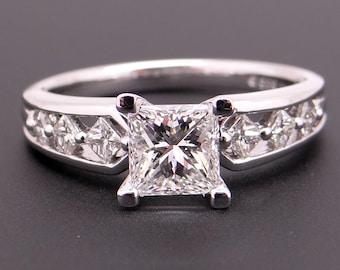 Gorgeous 14k White Gold 1.27ct Princess Cut Diamond Engagement Promise Ring Size 7 EGL