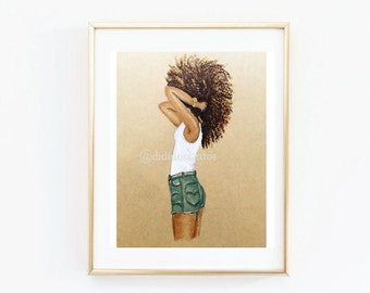 Fashion illustrations, natural hair illustrations