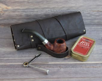 Genuine Leather Pipe Pouch. Tobacco Pouch Case Holder. Pipe Roll. Pipe Bag. Pipe Stand. Pipe holder. Dark Brown.