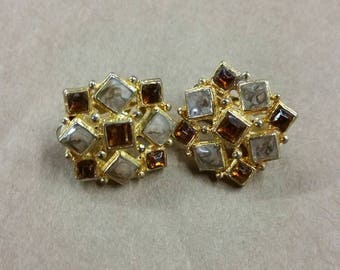Square amber setting clip on earrings