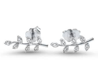 Dainty White gold diamond leaf earrings  14k White gold  branch and leaf diamond earrings delicate earrings