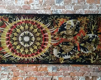 "Jean Claude Bissery ""Red dawn"" vintage tapestry"