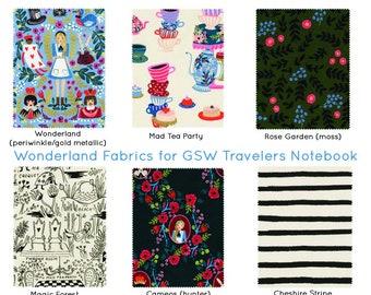 Travelers Notebook. Rifle Paper Co Wonderland Fauxdori. Journal Cover. Fabric Traveler's Notebook. Fabric Midori. Alice