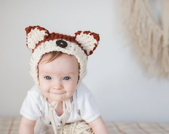 Knit Fox Bonnet/Woodland/Baby Hat/ Cozy/Chunky Wool/3-6mth