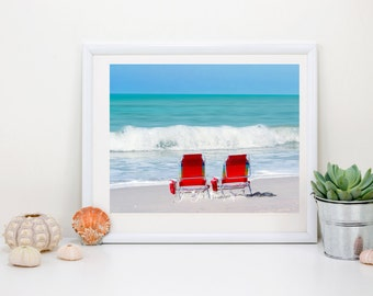 Beach Photography genuine fine art, aqua blue ocean photograph, red, orange, yellow, green,blue wall art coastal collection, *Happy Place*