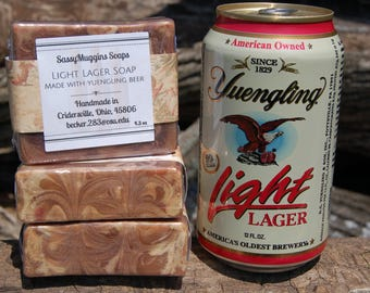 Light Lager Beer Soap - Made with Yuengling Light Lager - Tobacco and Amber Scented - Beer Soap - Luxurious Lather - Father's Day Gift - Dad