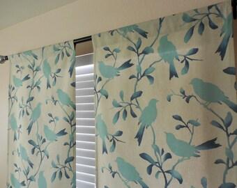 PAIR of 2 window curtains birds window panels nursery window curtains childrens room decor birds curtains