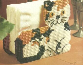 DIGITAL PATTERN: Calico Cat Napkin Holder 7 ct Plastic Canvas