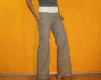 Trousers 'Malia' Streetwear bootcut wide cut beige Stretchbund size S / M side pockets jeans marlene