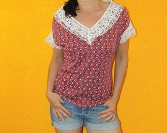 Stricktop 'Petty' red pattern lace boho strick fine knit spring summer autumn material mix v-neck white