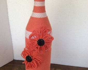 Coral Twine Striped Wine Bottle with Jeweled Flowers