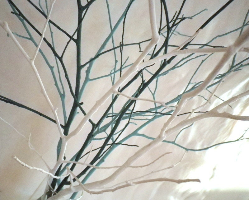 Tree Branches Home Decor Vase Filler Set Of 7 Teal Light