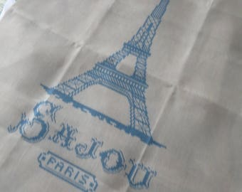 Sajou Cross Stitch Blue Eiffel Tower French Linen Printed Tea Towel- Natural
