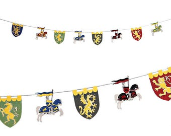 Brave Knights Garland Cut Outs, Dragons & Knights Theme Decorations, Princess Knights Party