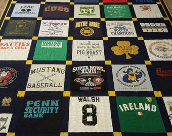 T-shirt quilts made from 9 to 49 tee shirts. Memory tshirt quilt. Keepsake t shirt quilt.