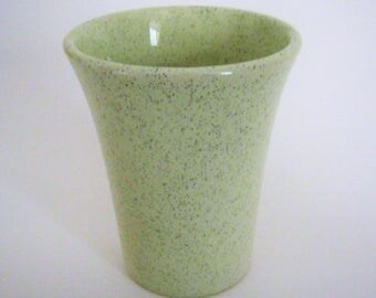 "Monterey Moderne Tumbler Bauer Pottery*Speckled Lime Green*High Gloss Glaze*1958-1961*Designed by Herb Brutsche*4"" Tumbler*Mid-Century"