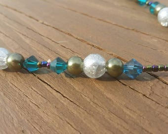 Teal crystal glass bead necklace olive pearls frosted spheres