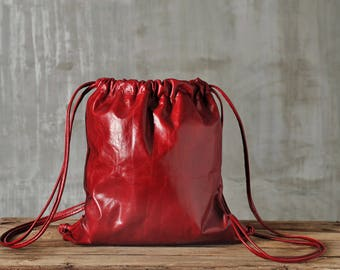 Red leather backpack/ Drawstring backpack/ Red backpack