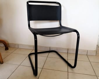 Sled Chair S33 of Mart Stam in tube black metal and leather black-Chair cantilever Bauhaus vintage in very good condition/illuminati10