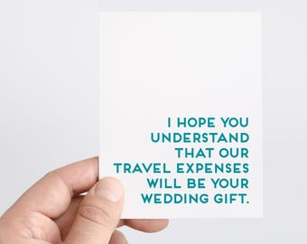 Funny Wedding Card | Engagement Card | Destination Wedding Card | Wedding Travel Card | Wedding Party Card | Funny Engagement Card
