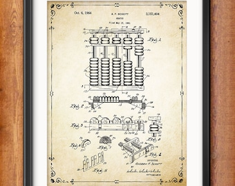 Accountant Gift Abacus Patent Print - Accounting - Accountancy - Book Keeping - Mathematical Calculation Instrument - 1350