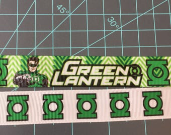 Green Lantern Grosgrain Ribbon// superhero ribbon// marvel ribbon