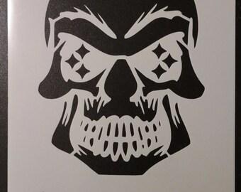 Pittsburgh Steelers Skull Football Custom Stencil FAST FREE SHIPPING