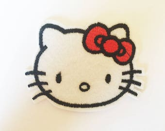 Cute Hello Kitty Rockabilly Hippie Sew or IRON ON PATCHES Retro Child Kid Embroidered Bag Hat Clothing Patch