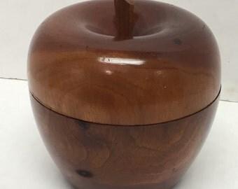 Wood carved apple box -Tea Caddy vintage