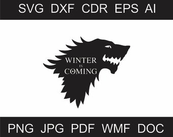 Winter is Coming Clipart - Scalable Printable Clipart - Iron on Transfer -  Laser Cutting and Engraving - Vinyl Cutting - Cricut - Quality