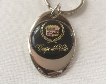 Cadillac Coupe de Ville Keychain Chrome Plated Solid Metal Caddy Key Chain