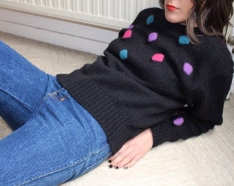 Confetti / RODIER / Vintage sweater / Made In Italy / black purple blue pink