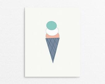 Childrens Art, Ice Cream Poster, Cute Nursery, Ice Cream Cone, Colorful Wall Art, Toddler Art Print, Kids Illustration, Poster Nursery, Art