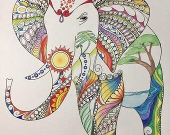 Zentangle elephant,elephant art,colored elephant,colored zentangle,zentangle art,ink colored pencils,safari art,wall art,wall decor.