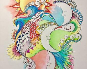 Zentangle abstract ,celestial art,moon and sun,colored zentangle,colored moon sun, ink colored pencils,wall art, wall decor