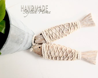 beach house decor wooden fish on a cotton cord